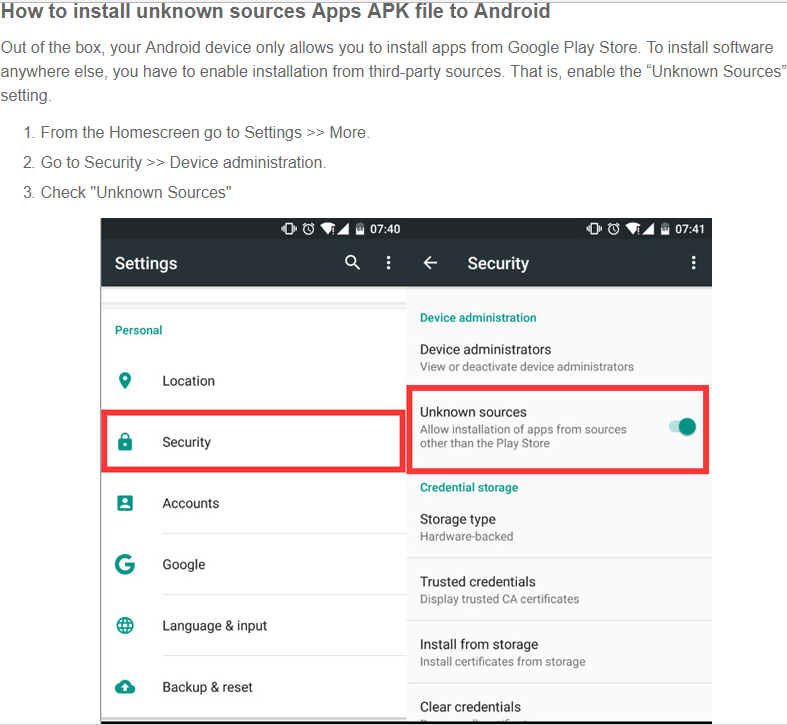 Install APK App for Android